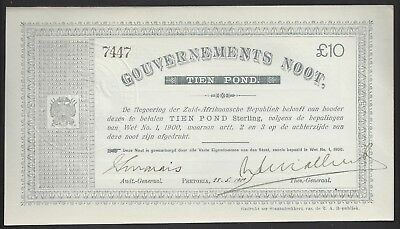 """""""UNC"""" 1900 South Africa 10 Pounds P-56b """"7447"""", Radar S/N Scarce Condition"""