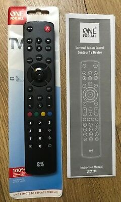 One For All TV Remote URC1210 Contour Universal Remote Control for TV