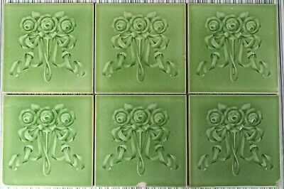 6 Antique Boote - Art Nouveau Majolica Tile C1900