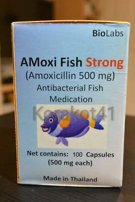 100 capsules 500mg Strong A Mox icillin for Antibacterial fish Medication Exp.20