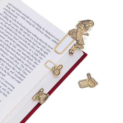 Alice in Wonderland Brass Page Markers - 4 Piece Bookmark Set Alice Hat Watch
