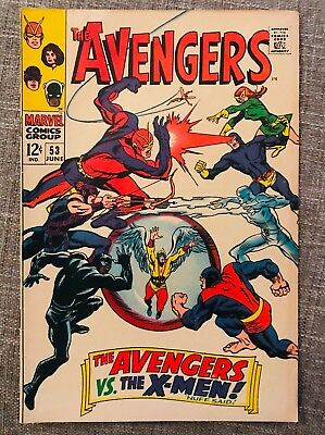 THE AVENGERS #53 JUNE 1968 The Avengers Vs. The X-Men! Silver Age Comic