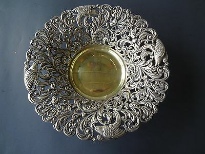 Vintage Filigree Open work Brass Bowl Spain Stamped Bird Design