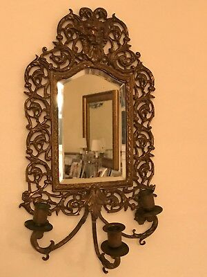 Antique Ornate Brass Iron Beveled Mirror 3 Candle Holder Wall Sconce Bacchus