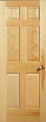 Cathedral Grain Clear Pine 6 Panel Interior Door, Slab/PH. MANY SIZES. FREE SHIP
