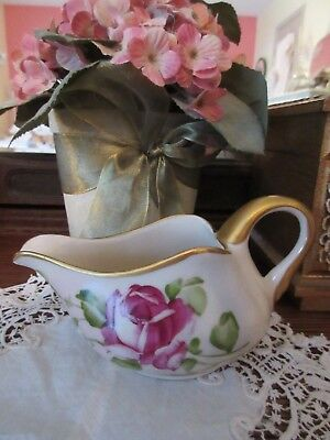 Vintage Shabby Roses Creamer Hand Painted Signed Susi Made in USA