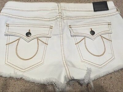 2259c140261f8 New True Religion Joey Cut Off Jeans Shorts Core Flaps Women 31  158 Optic  White