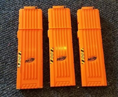 NERF 18 Max Round Dart Gun Long Ammo Clip Magazines Orange Lot of 3 Mags