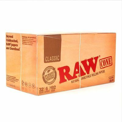 Raw 1 1/4 Classic Cone Full Box with 32 Packs Display 6 Cones per Pack Boxes