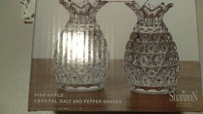 Shannon Crystal Pineapple Salt and Pepper Shakers New in Box