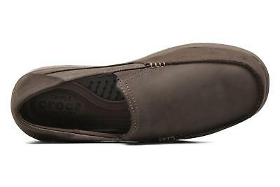 799160d91eb Crocs Mens Santa Cruz 2 Luxe Leather Slip-On Loafer - Expresso Walnut - 11