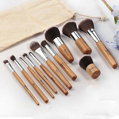 NEW 11 Piece Vegan Makeup Brush Set With Wood Handle & Soft Synthetic Hair FN