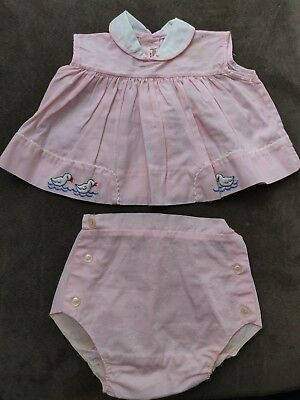 Vintage Infant Pink Baby Girl Outfit 2 Pieces Dress Diaper Cover - Ducks