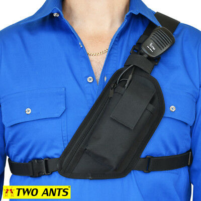 Radio Holster Chest Harness - Left - Black - Enclosed - Two Ants Trap Jaw