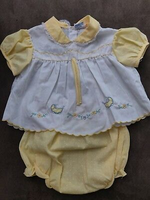 Vintage Infant Baby Girl Outfit 2 Pieces Dress Diaper Cover - baby buggy!