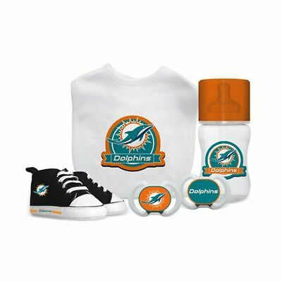meet 08873 3ff5a NFL BABY FANATIC Miami Dolphins Baby Essentials 5 Piece Infant Gift Set