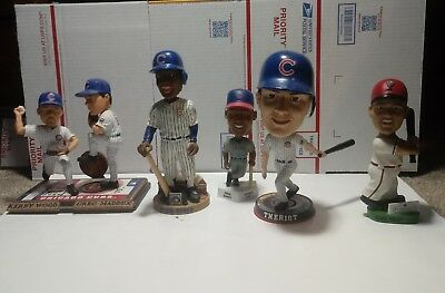 5 Lot Chicago cubs bobbleheads W/2 Ernie Banks Forever Maddux & Wood Few Issues