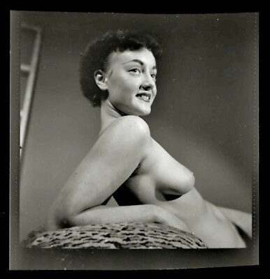 Rare 1930s Woman in Risque Nude Artistic Pose Large Format Negative Film 53
