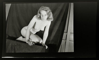 Rare 1930s Woman in Risque Nude Artistic Pose Large Format Negative Film 60