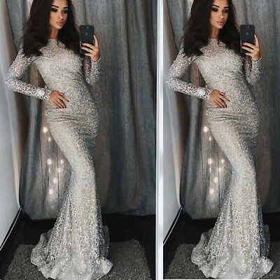 Women Long Maxi Sequins High Neck Long Sleeve Mermaid Evening Party Dress Silver