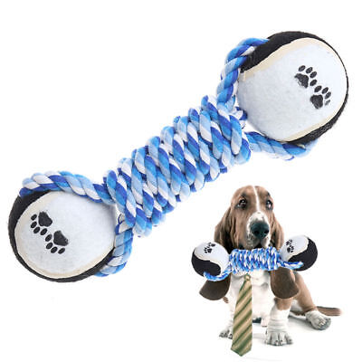 Long Dumbbell Double Tennis Pet Chew Toy Puppy Dog Clean Teeth Training
