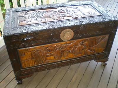 Large carved camphor wood chest  storage box china people harvest scene carvings