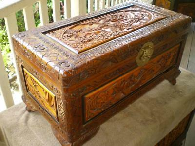 small carved camphor wood chest  storage box chinese lovers and garden scene