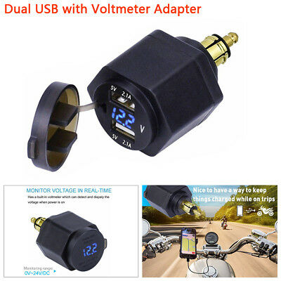 Black ABS  Motorcycle Dual USB Charger Adapter LED Voltmeter Powerlet For BMW