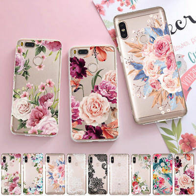 For Xiaomi Redmi K20 7 Note 7 Mi 9 8 A3 Lite Clear Flower Pattern TPU Cover Case