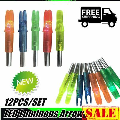 12PCS/SET LED Luminous Arrow Nock Outdoor Hunting Archery Arrow Tail Light ES