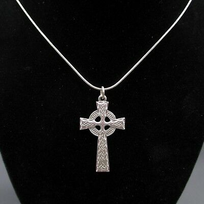 Vintage 24 Inch Silver Tone Celtic Religious Cross Pendant Necklace Everyday