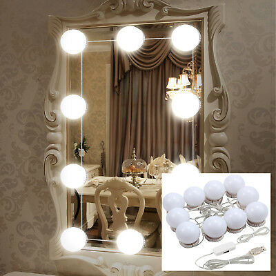 Hollywood Mirror Vanity LED Light Kit Beauty Makeup &10 bulbs, dimmer,USB plug