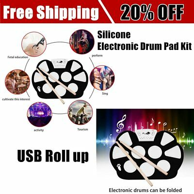 W758S Portable 9 Pads Digital USB Roll up Silicone Electronic Drum Pad Kit EC