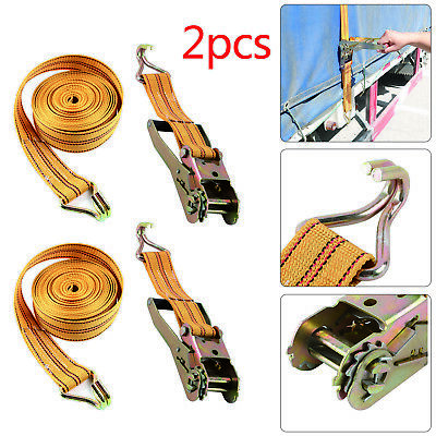 2 Pcs 50mm 6 Meter Ratchets Tie Down Straps 2 tons Heavy Duty Lorry Lashing UK