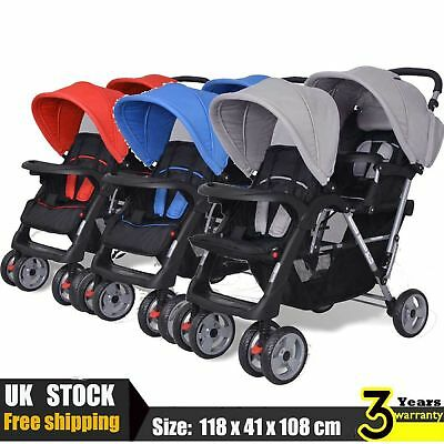 Double Baby Tandem Toddler Stroller Pram Pushchair Buggy Twin Red/Blue/Grey