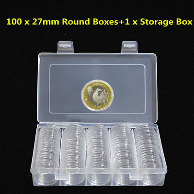 100Pc Clear Round Coin Cases Capsules Container Holder Storage Box Plastic