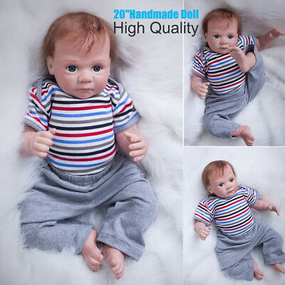 "20"" Cute Handmade Real Looking Newborn Baby Vinyl Silicone Reborn Boy Dolls Gift"