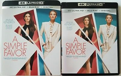 A Simple Favor 4K Ultra Hd Blu Ray 2 Disc Set + Slipcover Sleeve Free Shipping