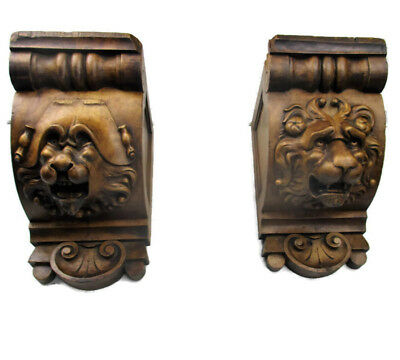Pair Vintage hand Carved Wood Lion Head Shelf Console Bracket Support Console