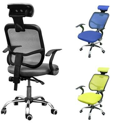 Adjustable Executive Office Chair Computer Chrome Chair Mesh Seat Fabric Swivel