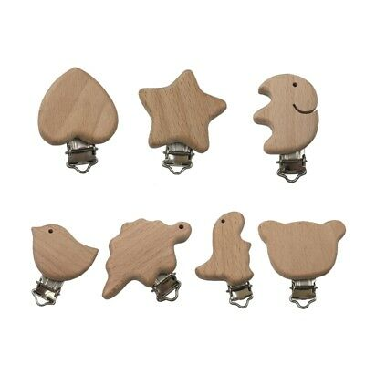 Natural Wood Beech Baby Pacifier Clips Dummy Clips DIY Pacifier Chain Accessory