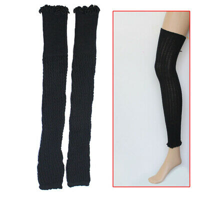 1 Pair Women Long Leg Warmers Knee High Boot Cover Twisted Socks Stocking Black