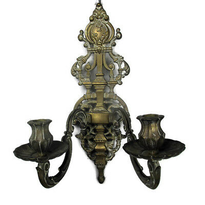 Large  Vintage brass Two-Arm Double Wall Sconce Lighting Ornate Candle Holder