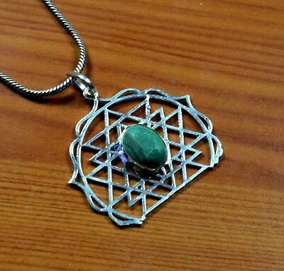 Malachite Gemstone Sterling Silver Overlay Chain Necklace Pendant/Locket