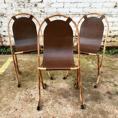 Vtg Mid Century Sebel Stak A Bye Metal Stacking Chair 1950's Industrial Dining