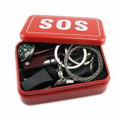 SOS Emergency Survival Kit Equipment Outdoor Camping Hiking Box Knife W0