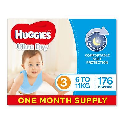 Huggies Ultra Dry Nappies Boys Size 3 Crawler 6-11kg 176 Count One-Month Supply