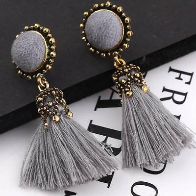 1Pair Girl Long Retro Round Bohemian Tassel Dangle Stud Earrings Earring  2019