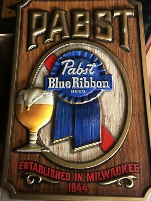 Vintage Pabst Blue Ribbon Large Sign 3D Plastic Bar Sign Man Cave