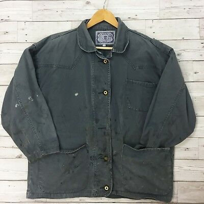 Thick Vintage French Worker CHORE Jacket - Charcoal Grey - XL 48 50
